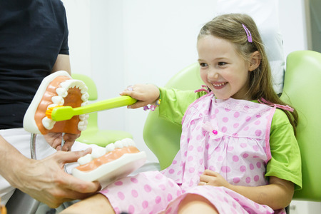 Smiling little girl in dentists chair, being educated about proper tooth-brushing by her paediatric dentist. Early prevention, raising awareness, oral hygiene demonstration concept. Stock Photo - 43294215