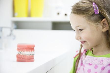Meisje observeren kunstmatige model van menselijke kaak met beugels in tandartsen kantoor, glimlachend. Pediatrische tandheelkunde, esthetische tandheelkunde, vroegschoolse educatie en preventie concept. Stockfoto