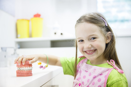 Little girl holding an artificial model of human jaw with dental braces in orthodontic office, smiling. Pediatric dentistry, aesthetic dentistry, early education and prevention concept.