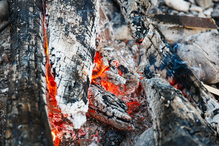 selfmade: Embers of a self-made campfire, lit for cooking, roasting and water purification. Safety and survival, outdoor activity concept.