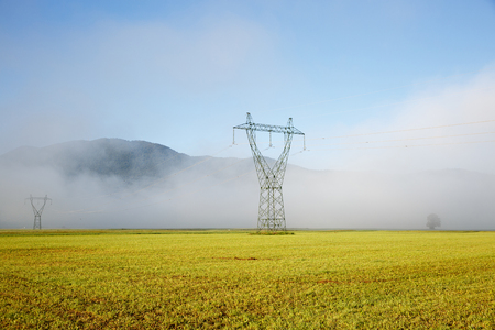 power delivery: Big electricity high voltage pylons with power lines on a yellow grass in a foggy morning. Sustainable resources, green energy, energy and power industry concept. Stock Photo