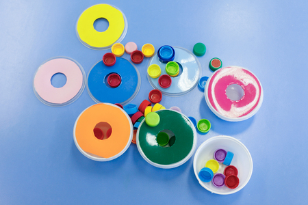 gross: Homemade, do-it-yourself educational toys, arranging and sorting colors. Learning through experience concept, intelligence development, educational approach concept.