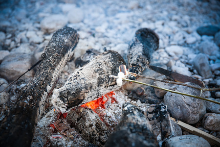 selfmade: Marshmallows sticked on a twig, being toasted on a self-made campfire, family spending quality time on an adventurous camping trip. Active natural lifestyle, fun family time concept. Stock Photo