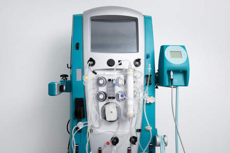 Hemodialysis machine with tubing and installations. Health care, blood purification, kidney failure, transplantation, medical equipment concept with copy space. Stock fotó