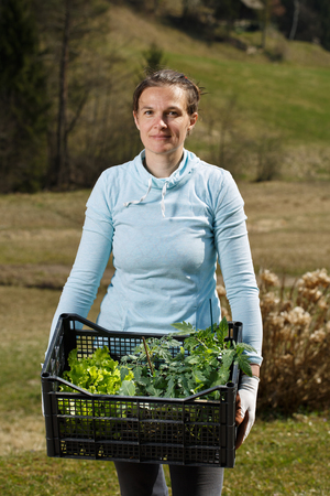 Woman gardener showing seedlings collection prepared to be planted on garden. Organic gardening, healthy and homegrown food, self-supply concept.