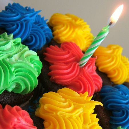 Birthday cupcakes with candle photo