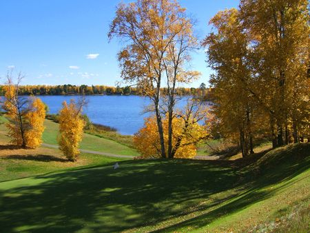 A beautiful Autumn day by the lake photo