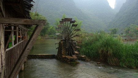 water wheel: river with water wheel Landscape