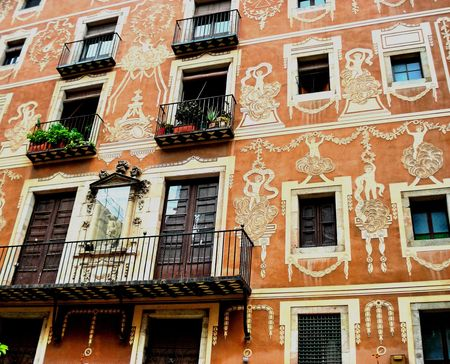 The beautiful facade of the building in a small Spanish town Stock Photo