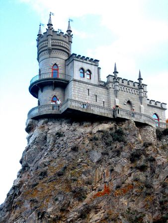 An old beautiful castle on the top of the cliff