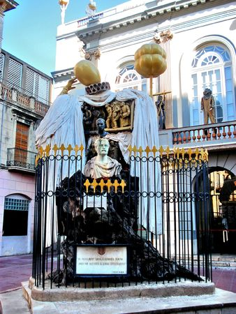Famous sculpture of Salvador Dali in front of the home-theater in the city Figueres Stock Photo