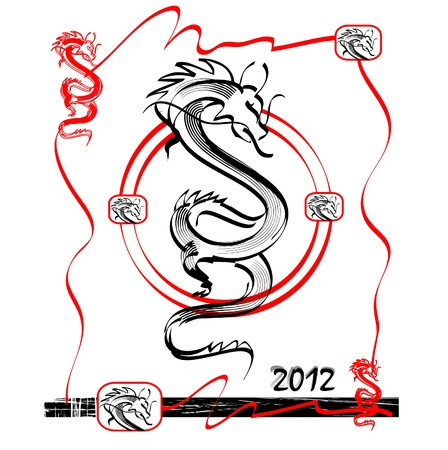 dragon tattoo: Vector Drawing of Dragon  Illustration