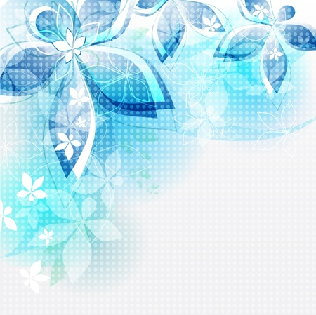 Abstract background blue flowers