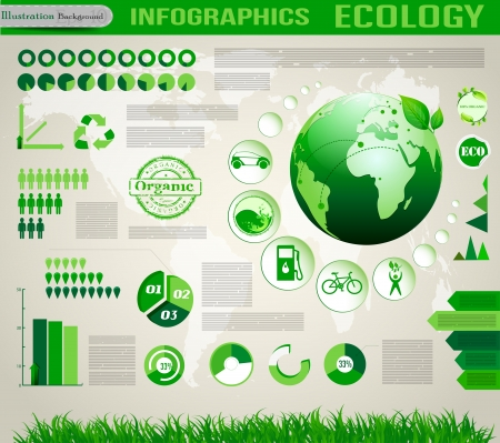 water scape:  Ecology social info graphics vector elements