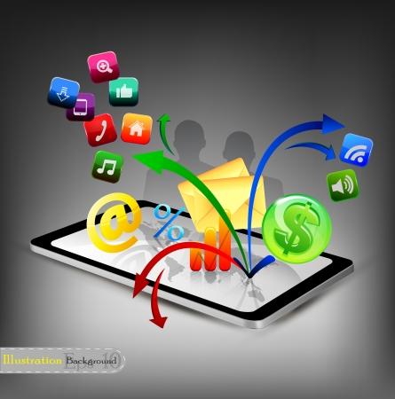 tablette pc: Tablet PC avec des ic�nes
