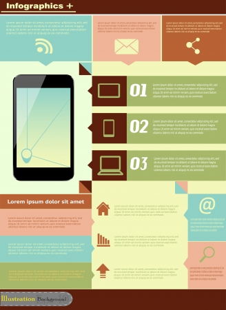 communication infographic illustration with mobile phone Vector