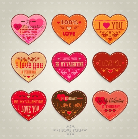 Set of Happy Valentine s Day Cards Vector