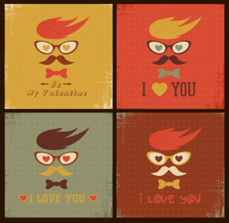 Hipster face retro card  Happy Valentines day Vector