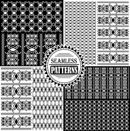 Set of eight black and white patterns Vector