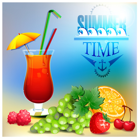 grape juice: Summer cocktail and fruits Illustration