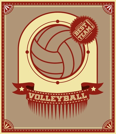 Volleyball retro poster with ball and text Vector