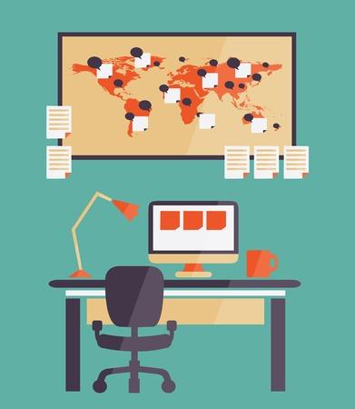 freelancer: Home office for freelancer  on a colorful background