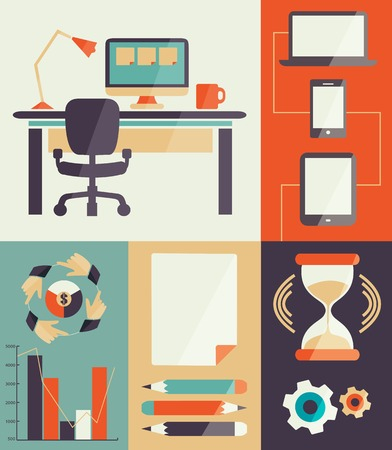 Home office for freelancer  on a colorful background Vector