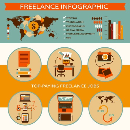 Freelance infographic with icons and text Vector