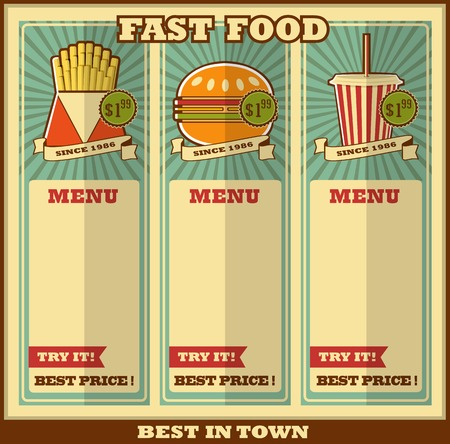 Fast food menu  Elements on a colorful background  Vector