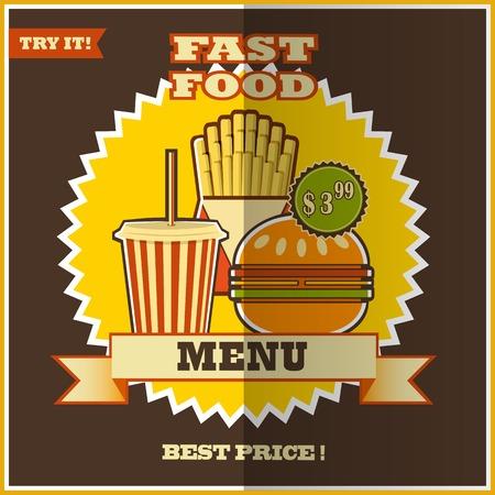 prepared potato: Fast food menu  Elements on a colorful background  Illustration