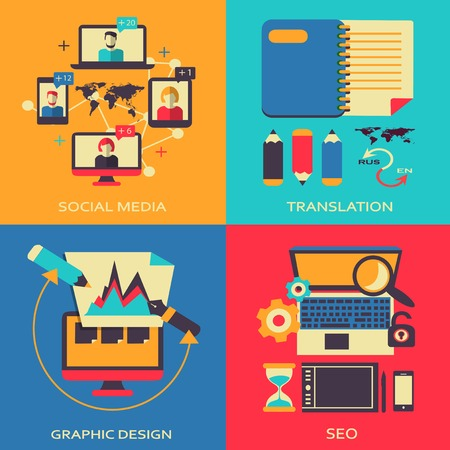 Freelance infographic  Elements on a colorful background  Vector