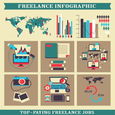 freelance: Freelance infographic  Elements on a colorful background