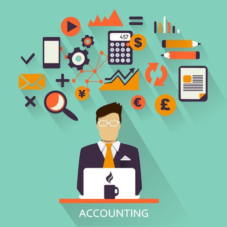 contabilidad financiera cuentas: Dise�o plano de la carrera Freelance: Contabilidad Vectores