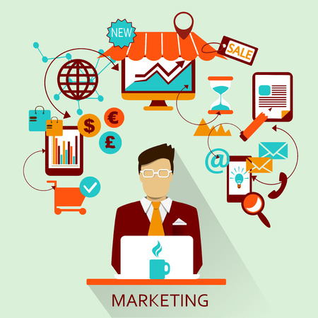 cms: Flat design of Freelance career: Marketing