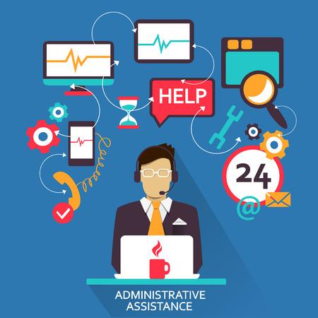 administration: Flat design   Freelance career  Administrative assistance