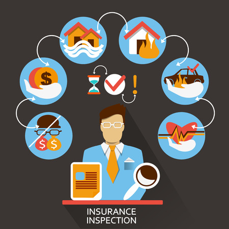 health risks: Flat design of Freelance career: Insurance inspection
