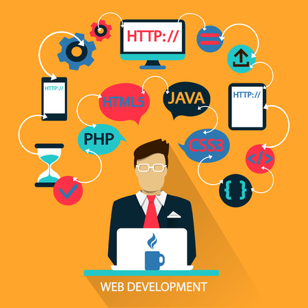 Flat design of Freelance career: Web development  Stock Illustratie