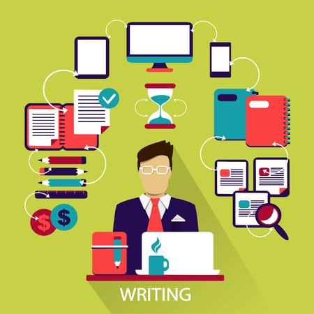content writing: Flat design of Freelance career: Writing