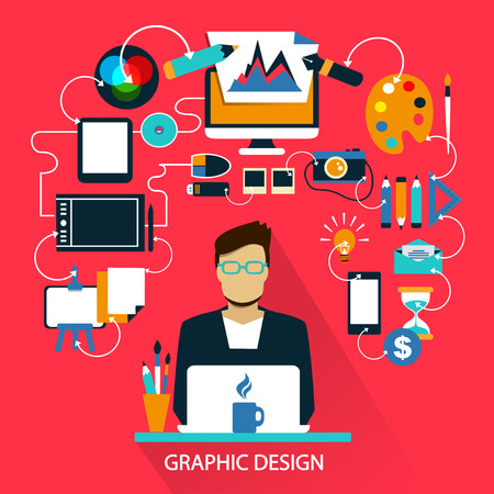 paper graphic: Flat design of Freelance career: Graphic design