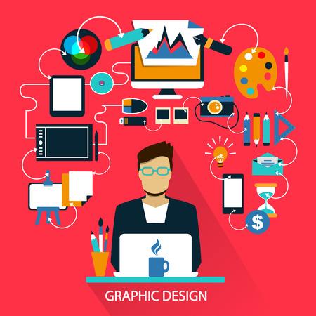 print design: Flat design of Freelance career: Graphic design