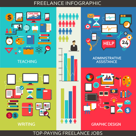 business administration: Flat design  Freelance infographic