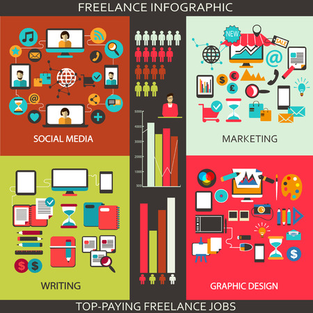 Flat design  Freelance infographic  Vector