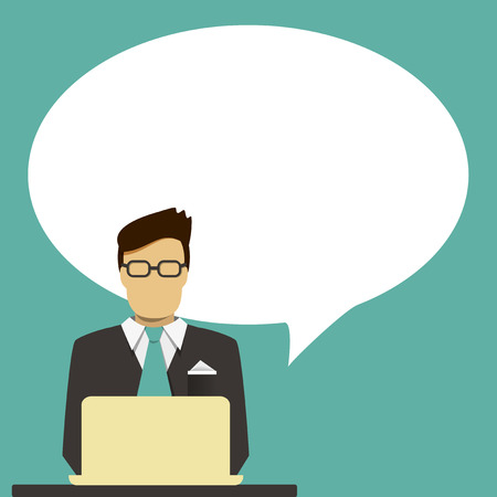 busy person: Businessman with speech bubble for text  Illustration