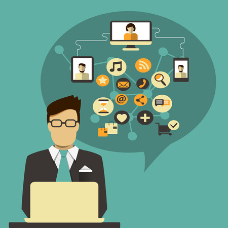 Businessman with speech bubble and social media icon  Çizim