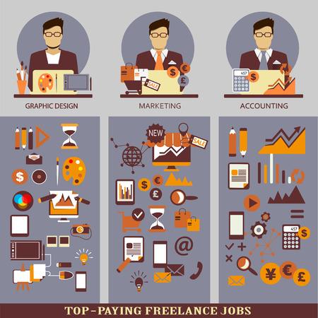 freelance: Flat design  Freelance infographic
