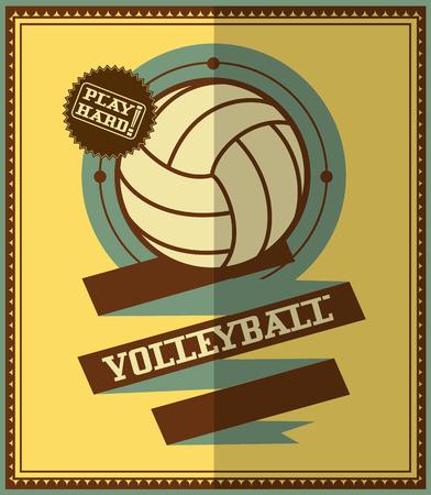 Flat design  Volleyball retro poster Vector