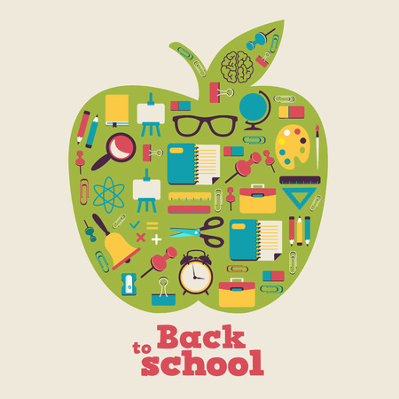 knowledge tree: Back to school - background with apple and icons Illustration