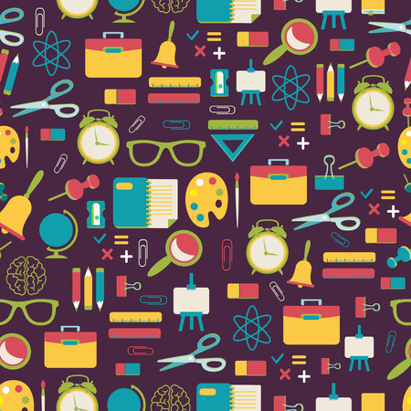 college class: School pattern with colorful icons Illustration