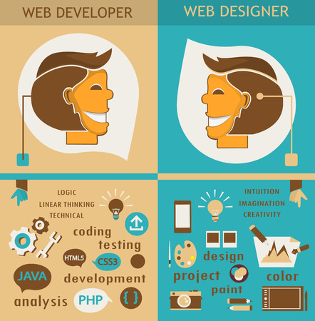 webdesigner: Web designers and web developers. Illustration