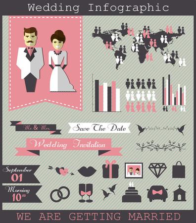 wedding reception decoration: Wedding infographic. Illustration
